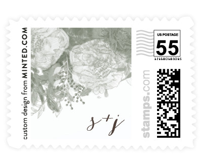 'Floral Runner (D)' wedding stamps