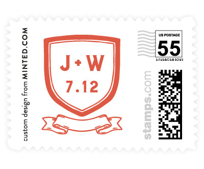 'Poetic Crest (F)' wedding postage