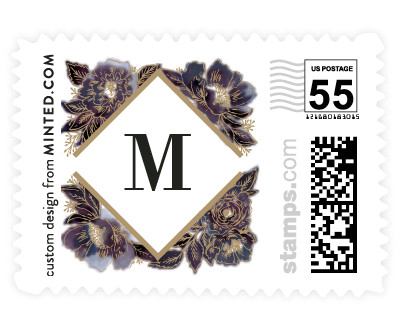 'Painted Peony Corners' postage stamps